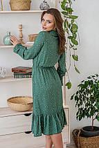 Платье летнее женское цветочное с длинным рукавом и воланом светло-зеленое цветы на бледно-зеленом, фото 3
