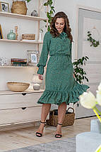 Платье летнее женское цветочное с длинным рукавом и воланом светло-зеленое цветы на бледно-зеленом, фото 2