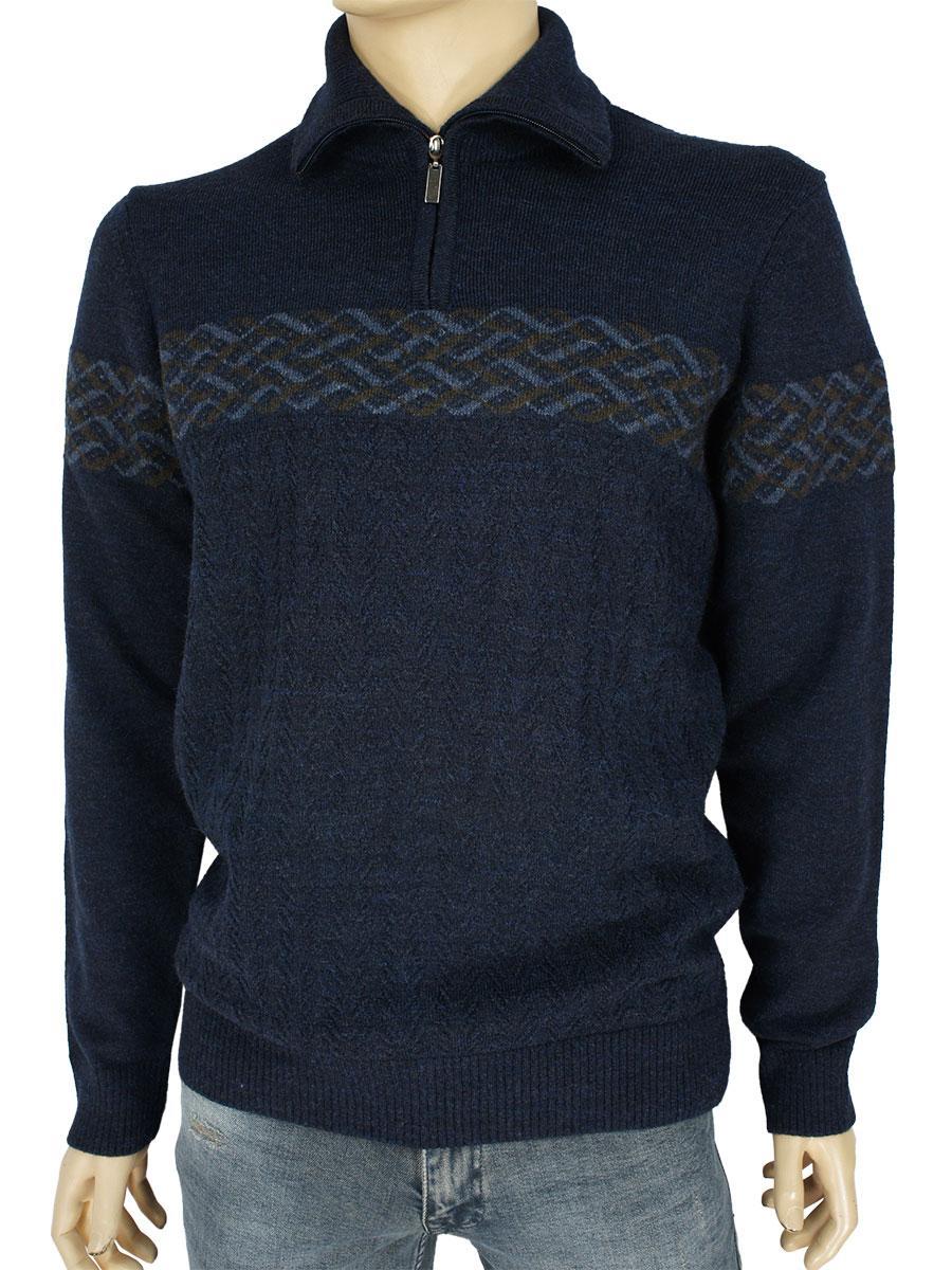 Турецький чоловічий светр Yamak 25095 темно-синього кольору