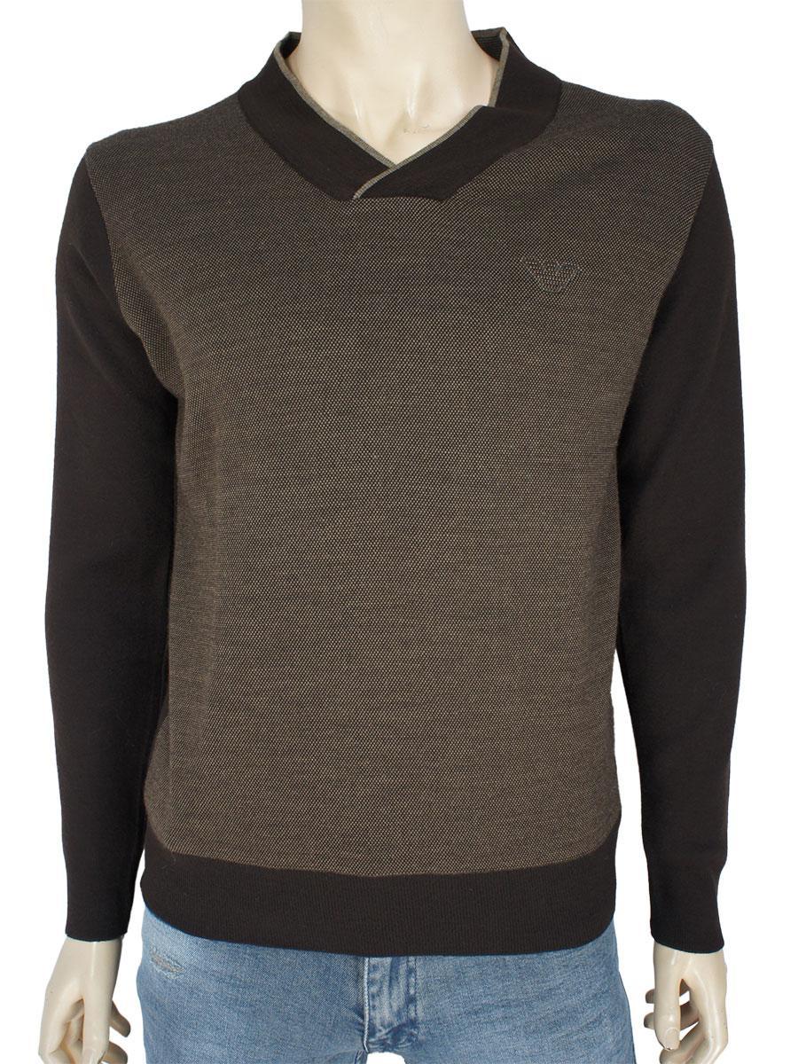 Комбинированный мужской свитер Vipline-206 в коричневом цвете