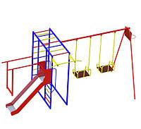 Комплекс спортивно-игровой с горкой из нержавейки и качелями, уличный., фото 1