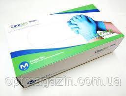 Рукавички нітрилові неопудрені блакитні premium Care 365, розмір L, M 100 шт.