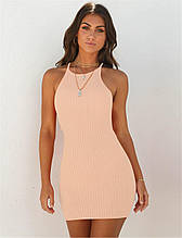 Облегающее повседневное платье в рубчик