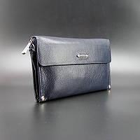Клатч синий мужской кожаный Prada 3410-1 с клапаном матовый сумочка из натуральной кожи, фото 1