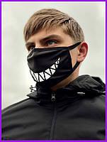 Защитная маска тканевая чёрная Улыбка