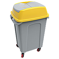 Бак для мусора на колесах Planet Hippo 70 л серо-желтый