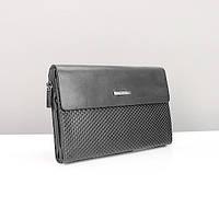 Мужской клатч Armani arm-3511-1 bla черный натуральная кожа сумка барсетка, фото 1