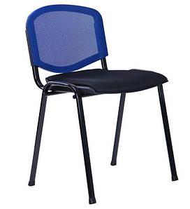 Стул Призма Веб Черный лак сиденье Сетка черная/спинка Сетка синяя