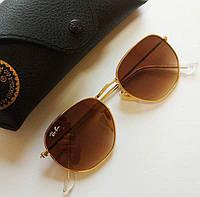 Солнцезащитные очки в стиле Ray Ban Hexagonal с коричневыми линзами