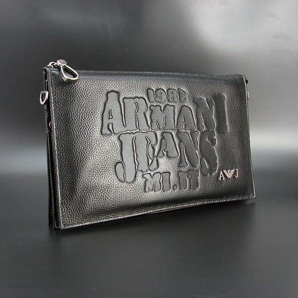 Клатч чоловічий великий Armani 921-3 шкіряний чорний з натуральної шкіри з тисненням