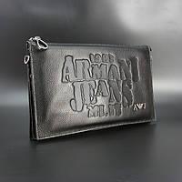 Мужская кожаная сумка-клатч Armani большая черная из натуральной кожи с тиснением, фото 1