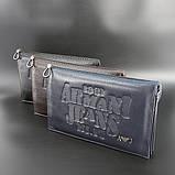 Клатч чоловічий великий Armani 921-3 шкіряний чорний з натуральної шкіри з тисненням, фото 3