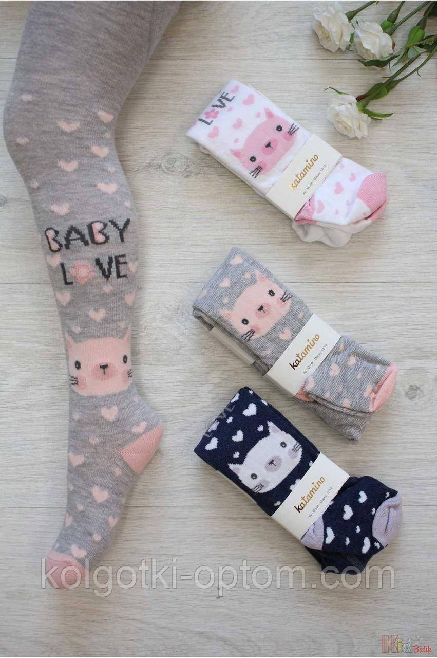"""ОПТОМ Колготки """"Baby Love"""" с котиком и сердечками для девочки 0-6мес. (52-62 / 0-3 мес.)  Katamino 8680652374555"""