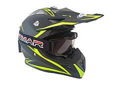 Шлем кроссовый HF-116 (size: XXL, черный-матовый с зеленым рисунком), фото 3