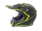 Шлем кроссовый HF-116 (size: XXL, черный-матовый с зеленым рисунком)
