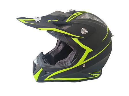 Шлем кроссовый HF-116 (size: XXL, черный-матовый с зеленым рисунком), фото 2