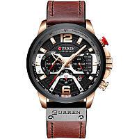 Наручные часы мужские CURREN 8329 Brown кварцевые влагозащищенные стильные с кожаным ремешком