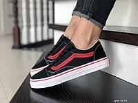 Подростковые Кроссовки Vans 9195 чёрные с красным, фото 1