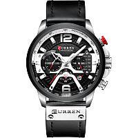 Наручные часы мужские CURREN 8329 Black влагозащищенные брендовые с кожаным ремешком кварцевые