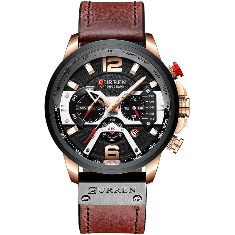 Наручные часы мужские CURREN 8329 Brown влагозащищенные брендовые с кожаным ремешком кварцевые