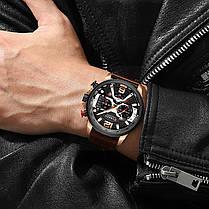Наручные часы мужские CURREN 8329 Brown влагозащищенные брендовые с кожаным ремешком кварцевые, фото 3