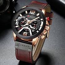 Наручные часы мужские CURREN 8329 Brown влагозащищенные брендовые с кожаным ремешком кварцевые, фото 2