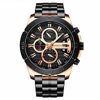 Часы мужские наручные CURREN 8337 Black кварцевые стальные с календарем фирменный аксессуар для мужчин
