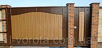 Кованые откатные ворота с рельефным декором 3500, 2200 и калитка 900, 2200 (эффект жатки), фото 2