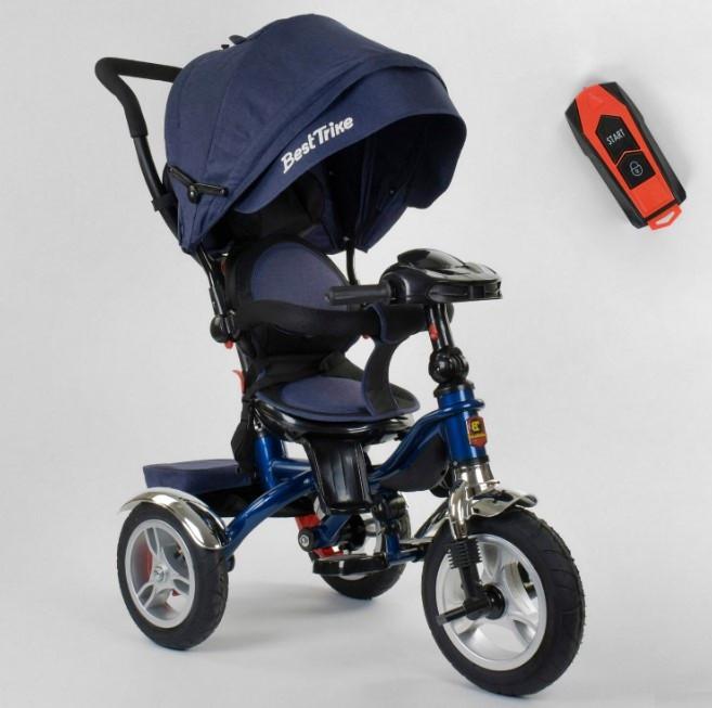 Трехколесный велосипед с ручкой козырьком поворотное сиденье складной руль надувные колеса BestTrike 5890-7019