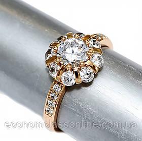 Кольцо позолота белый циркон хк-455