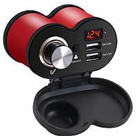 USB мото зарядка на кермо, 2 х USB, 12-24 V WUPP, + кріплення під болт Червоний