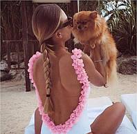Купальник боди женский с открытой спинкой с декором-цветочками из гипюра