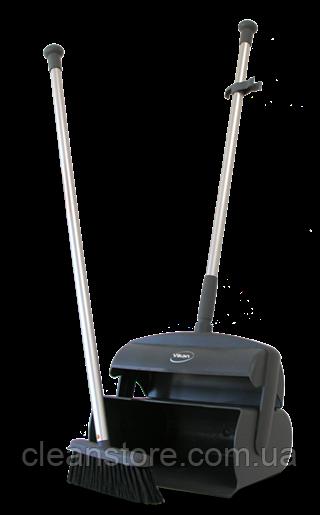 Совок-контейнер в комплекте с щеткой для пола и сгоном, 1050 мм