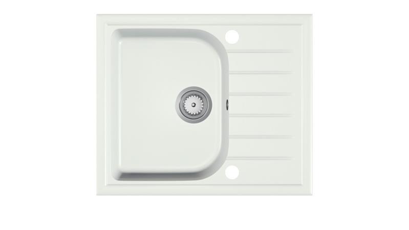Мойка кухонная гранит ALAROS белый крошка 58.5х49 (Halmar)