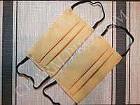 Защитная маска для лица из плотного материала Спанбонд, двухслойная на резинке 50 шт.