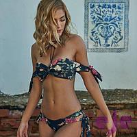 Открытый купальник женский цветочный бандо