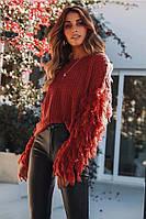 Объёмный тёплый свитер с пушистыми рукавами бордо