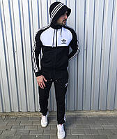 Спортивный костюм мужской Adidas black-white | весенний летний