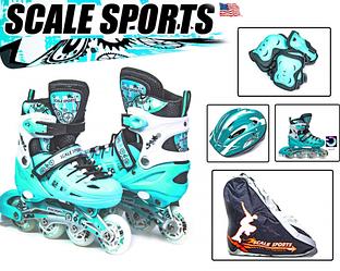 Роликовые коньки с комплектом защиты Scale Sport. Mint, размер 29-33