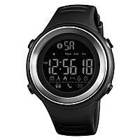 Skmei 1396 черные с серебристым кантом спортивные смарт часы, фото 1