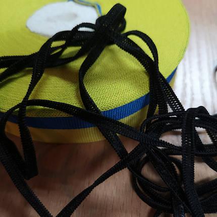 Резинка плоская 3,5 мм, латекс, черная (для масок), фото 2