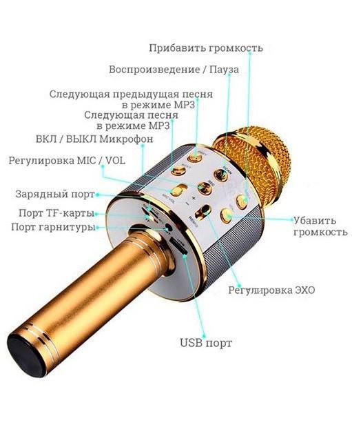 Радиомикрофон караоке Wster WS858 Bluetooth со встроенной колонкой и слотом для карты и наушников Gold Реплика