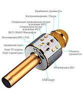 Радіомікрофон караоке Wster WS858 Bluetooth з вбудованою колонкою і слотом для карти і навушників Gold Репліка