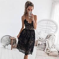 Платье сарафан женский нарядный кружевной на подкладке черный