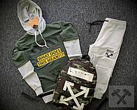 Спортивный костюм Off-White x grey-khaki  мужской осенний весенний | ТОП качества, фото 1