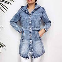 Женская стильная удлиненная джинсовая куртка