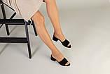 Черные женские шлепанцы на каблуке из велюра, фото 5