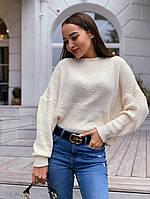 Объёмный тёплый свитер белый женский из мягкой пряжи