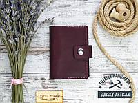 Визитница кредитница бордовая, карт холдер из натуральной кожи, фото 1