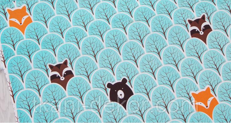 Сатин (хлопковая ткань) на мятных деревьях звери (30*160)